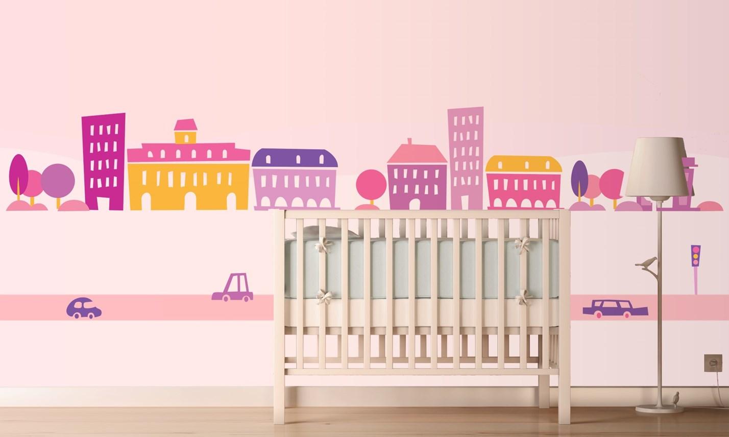Stickers Murali Bambini - Cameretta Greca per bambine rosa | LeoStickers